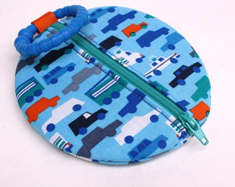 Pacifier Case Cars on Blue Paci Pod Binky Pouch