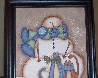 Snowman Kitty Handpainted Winter Framed Canvas-Home Decor