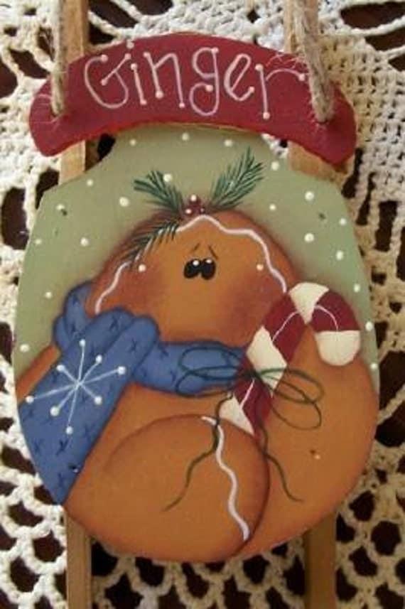 Primitive Handpainted Gingerbread Sled Ornament