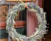 Fall or Autumn Wreath Handcrafted Lavender Wheat Moss and Montana Grasses