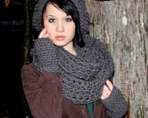 SET The Favorite Cowl Hood scarf Hat Fingerless Glove Wool stormy slate grey