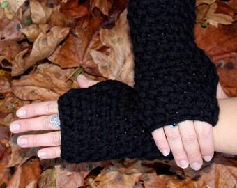 fingerless gloves hand warmer Vegan Jet Black