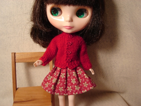 Blythe or Pullip Red Wool Cardigan Sweater and Socks