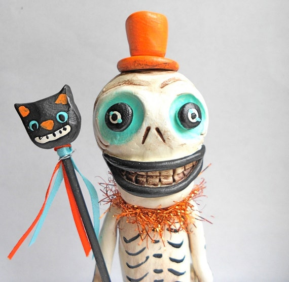 Halloween Skelly with Black Cat Wand clay folk art