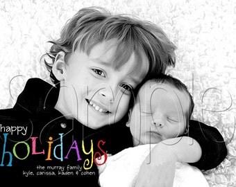 Rainbow Text Holiday Christmas Photo Card