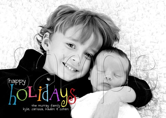 Rainbow Text Holiday Christmas Photo Card