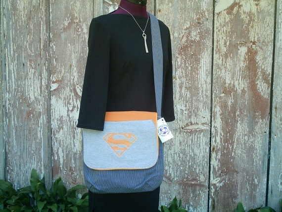 Superman Messenger Bag and Clutch Purse Set OOAK