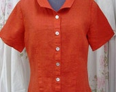Flax Button Down Red Linen SS Top, Size Petite/Small/Medium