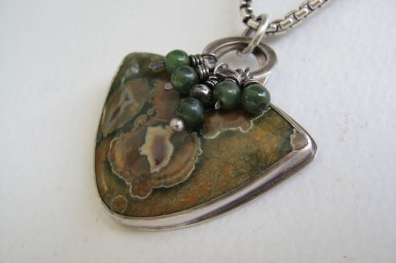 Jasper and Silver Handcrafted Necklace