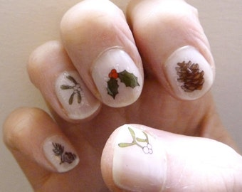 christmas nail transfers - handmade festive nail art decals - holly / mistletoe / pine cones / nail stickers - stocking filler