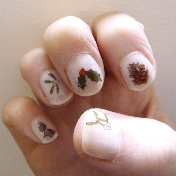 Christmas nail transfers handmade festive nail art decals christmas nail transfers handmade festive nail art decals holly mistletoe pine cones nail stickers stocking filler from katebroughton on etsy prinsesfo Choice Image