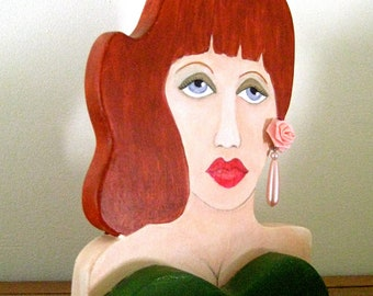 CYNTHIA WOODEN SCULPTURE, One of a Kind, hand painted, vintage earring, bookshelf art, wood sculpture, home decor, fashionista, dark green
