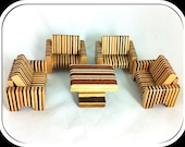Vintage Dolls House Furniture - Retro Hand Made Lounge Suite - Four Chairs and Coffee Table - Variety of Layered Woods - 1950s / 60s.