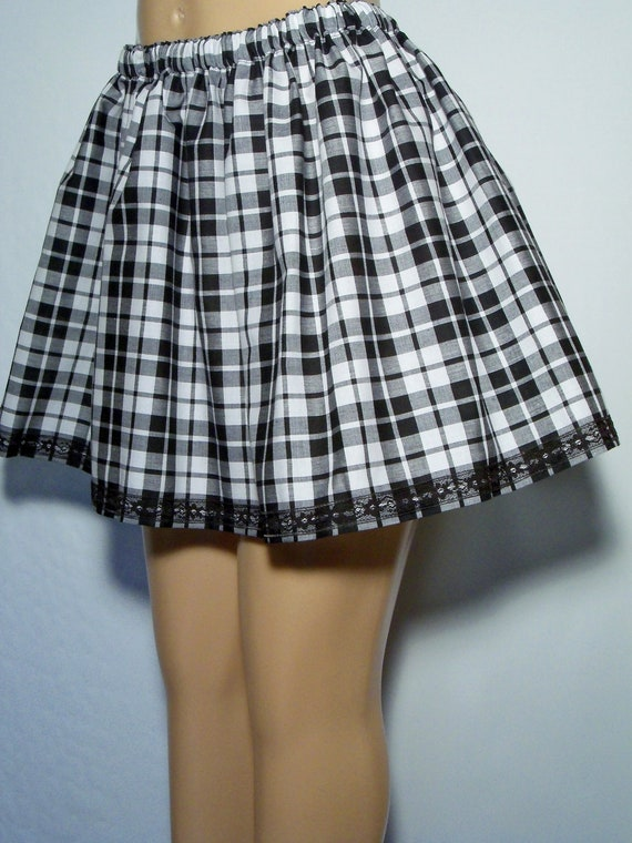 & White Plaid LACE Trim MINI Skirt Plus Size 1X 2X 3X