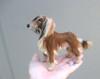 Your Pet in Miniature / Needle Felted Dog / Portrait  Sculpture by Fiber Artist GERRY / Poseable