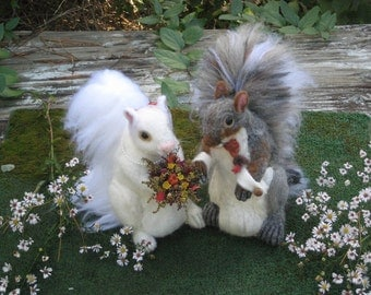 Wedding Cake Topper / Animal Sculptures / 2 Handmade Needle Felted Squirrels  / by Fiber Artist GERRY / Large
