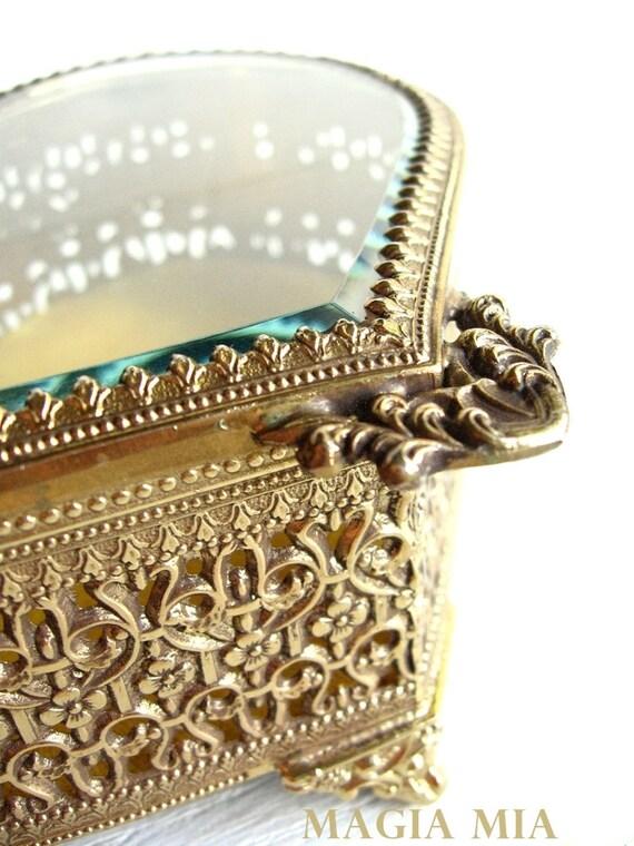 Ormolu Filigree Heart Trinket Jewelry Casket .... Brass or Bronze Beveled Glass Box
