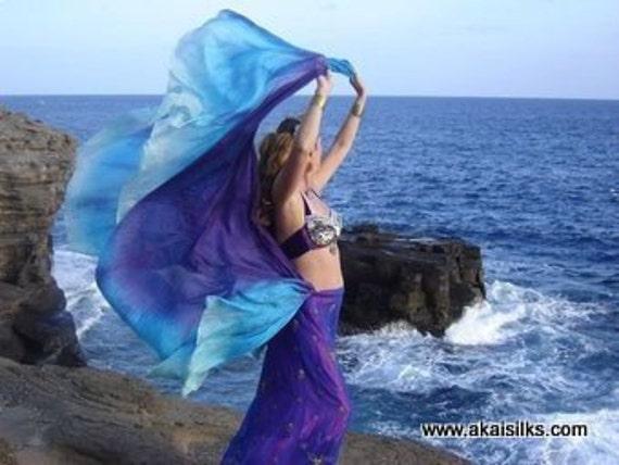 belly dance costume silk veil rectangle  Heaven Sent purple turquoise mint