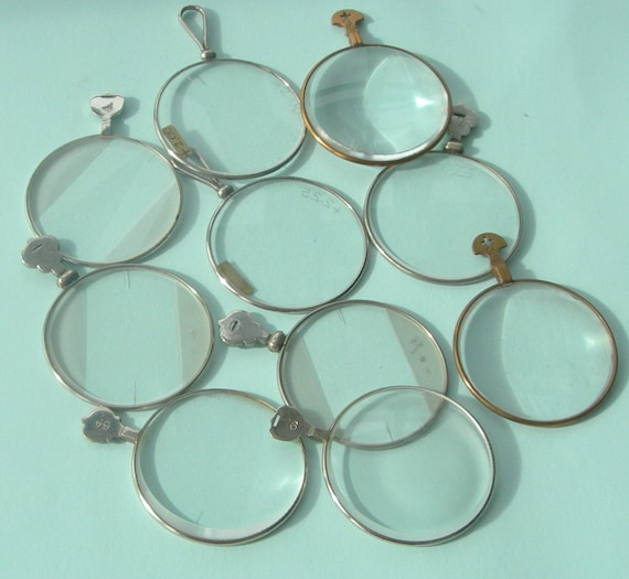 10 Vintage mixed Optical lenses - Steampunk art or Jewellery.