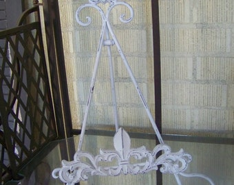 Fleur de lis Easel-Bride and Groom Wedding Photo Easel-Cast Iron Cookbook Holder-Distressed Paint