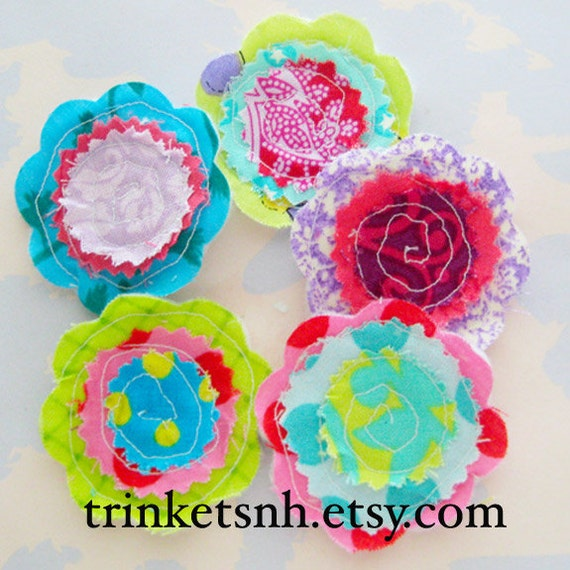 Sewn Fabric Flowers Embellishment Set - Small