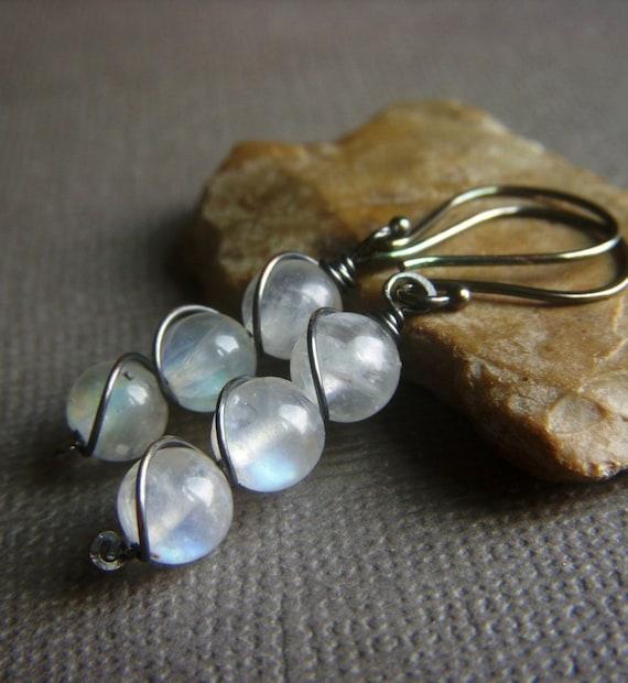 Rainbow Moonstone Earrings on Oxidized Sterling . Twist Wrapped Gemstone . Helix