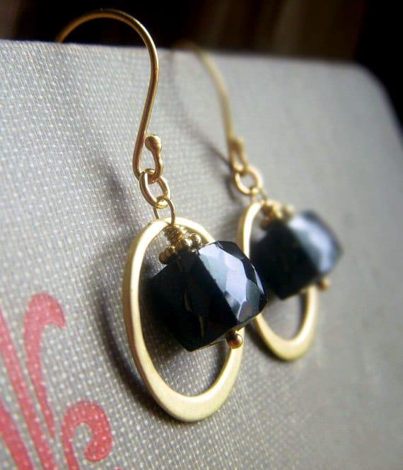 Black Spinel Earrings on Vermeil . 3D Gemstone Geometric Cube Dangle . Noir Luxe