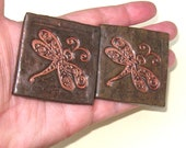 Dragonfly Magnets Set of 2 Large Copper Brown Rustic Stoneware Home Decor Refrigerator Magnets Ceramic Kitchen Cute Fridge Insect 2 Inches
