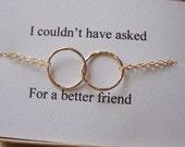 Eternity Gold Circle Bracelet & Card Set - Interlocking links, Endless, Halo bracelet, Lovely Gift, Best Friend, Bridal,Friendship Bracelet