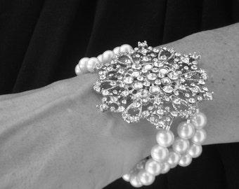 Rhinestone Wedding Bracelet, Victorian Style, Swarovski Pearls Bracelet, Bridal Jewelry, Special Occasion- ALVA