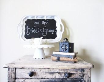 Wedding Chalkboard, Kitchen Memo Board, Vintage Silver Tray Chalkboard, Wedding Sign, Signage, Party Menu Board, Blackboard Sign