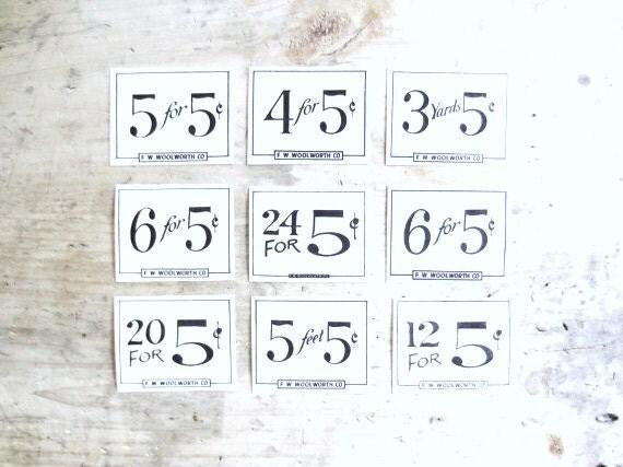 Vintage 1940's General Store Price Numbers
