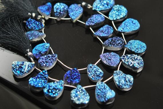 Titanium druzy pear electric blue