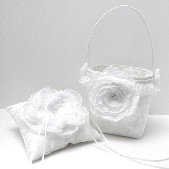 Flower Girl Basket Wedding Ring Bearer Pillow Set Floral Brocade