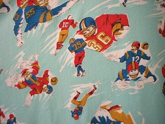 RESERVED for R. thru 11/27 - SALE Flannel fabric cotton, FOOTBALL - for quilts, boys pajamas - by the yard
