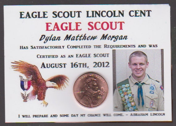 Lincoln Cent The Year I became an Eagle SCOUT Custom BOY Collector Scouting Coin ACEO