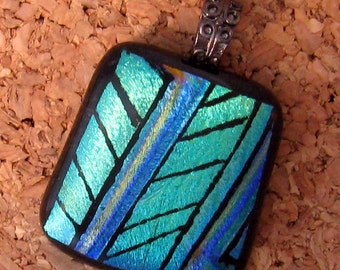 Hand Etched Dichroic Pendant, Fused Glass Pendant, Dichroic Jewelry, Fused Glass Jewelry