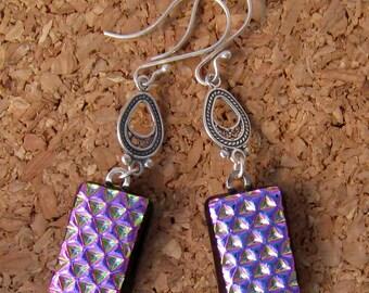 Fused Glass Earrings -  Pink Dichroic Earrings - Fused Glass Jewelry - Dichroic Jewelry