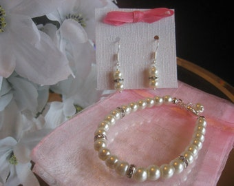 Flower Girl Youth Pearl and Swarovski Rhinestone Bracelet and Earring Set - Childs Pearl Jewelry Set