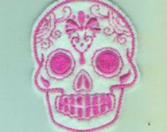 Mini Mexican Sugar Skull embroidery patch hot pink and white