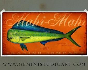 Mahi Mahi trading company dorado fish original illustration signed archival artists print giclee 10 x 20