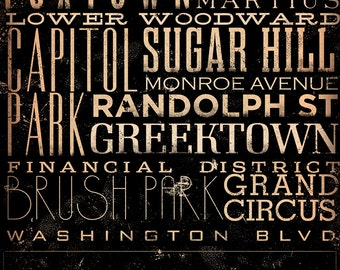 Detroit Michigan neighborhoods typography graphic art on canvas 18 x 24 x 1.5 by stephen fowler