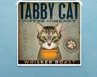 Tabby Cat Coffee Company illustration signed artists print by Stephen fowler