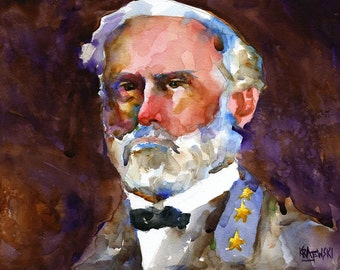Robert E. Lee Art Print of Original Watercolor Painting 11x14