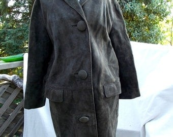 Ladies Coat, Olive Green Suede,  Mad Men Era 60s, German Suede offered as is with need of trip to cleaners