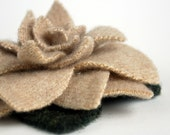 Sand - Recycled Cashmere Rose Brooch