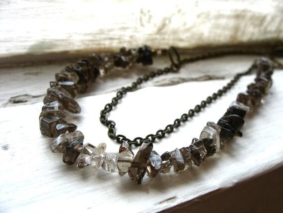 Smoky Quartz Necklace, Smoky Quartz Gemstone Statement Necklace, handmade artisan Quartz strand jewelry, FREE Shipping