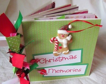mini scrapbook album -- CHRISTMAS MEMORIES -- premade PaPeR BaG book - Document family traditions, use for one Christmas or many! SALE! gift