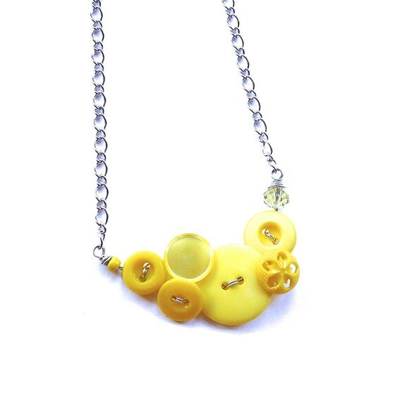 Yellow Necklace - Bright Funky Button Jewelry