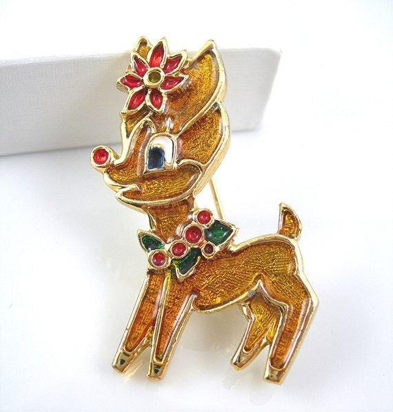Vintage Christmas Brooch Rudolph the Red-nosed Reindeer by Beatrix Circa 1970s Costume Jewelry Pin